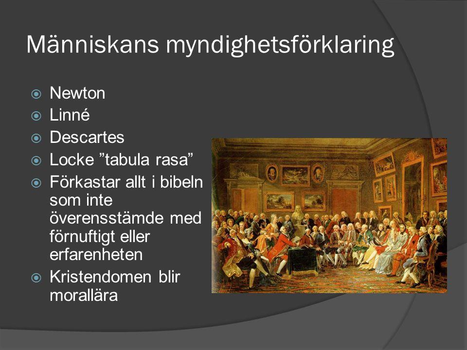 """Människans myndighetsförklaring  Newton  Linné  Descartes  Locke """"tabula rasa""""  Förkastar allt i bibeln som inte överensstämde med förnuftigt ell"""