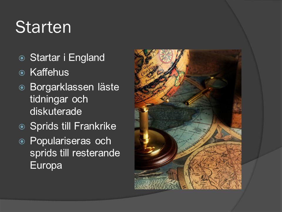 Starten  Startar i England  Kaffehus  Borgarklassen läste tidningar och diskuterade  Sprids till Frankrike  Populariseras och sprids till restera