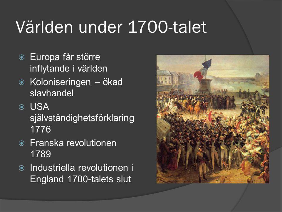 Världen under 1700-talet  Europa får större inflytande i världen  Koloniseringen – ökad slavhandel  USA självständighetsförklaring 1776  Franska r