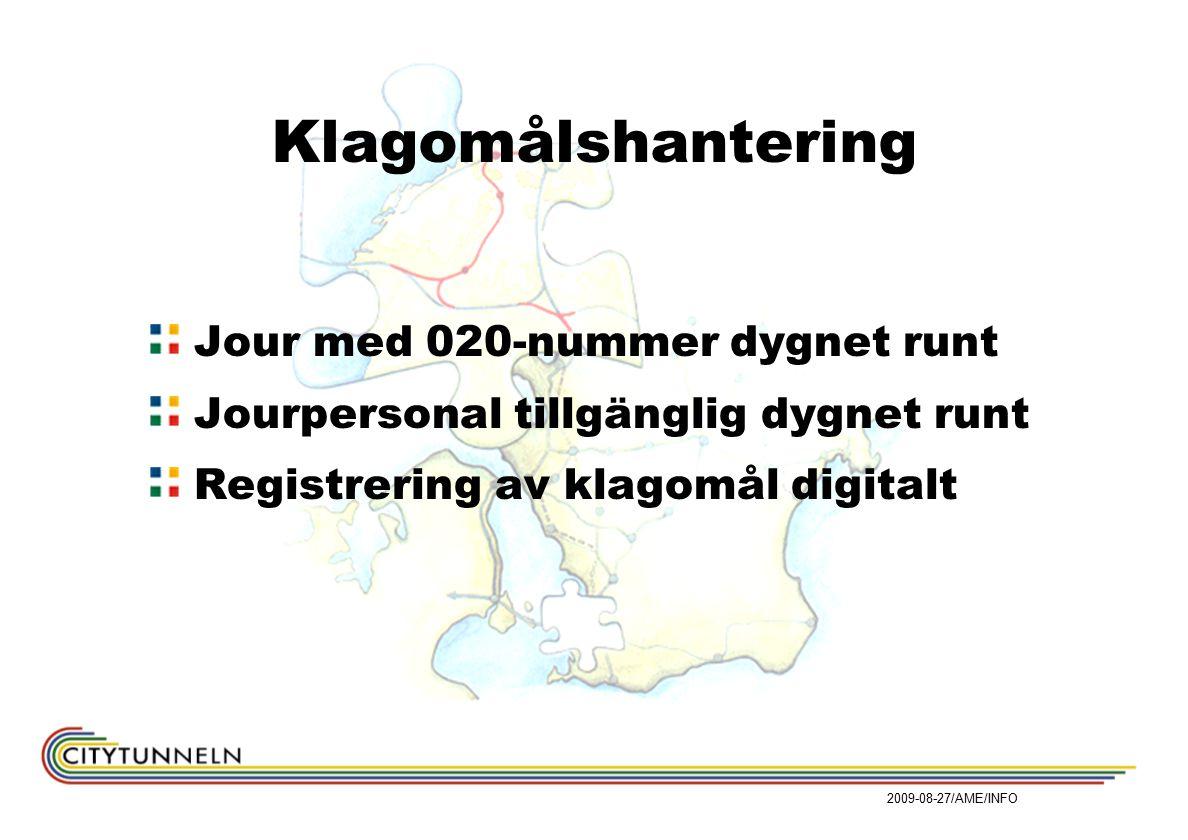 Klagomålshantering Jour med 020-nummer dygnet runt Jourpersonal tillgänglig dygnet runt Registrering av klagomål digitalt 2009-08-27/AME/INFO
