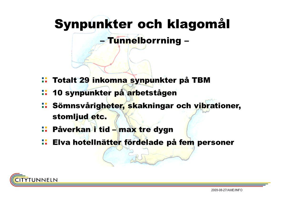 Synpunkter och klagomål – Tunnelborrning – Totalt 29 inkomna synpunkter på TBM 10 synpunkter på arbetstågen Sömnsvårigheter, skakningar och vibrationer, stomljud etc.