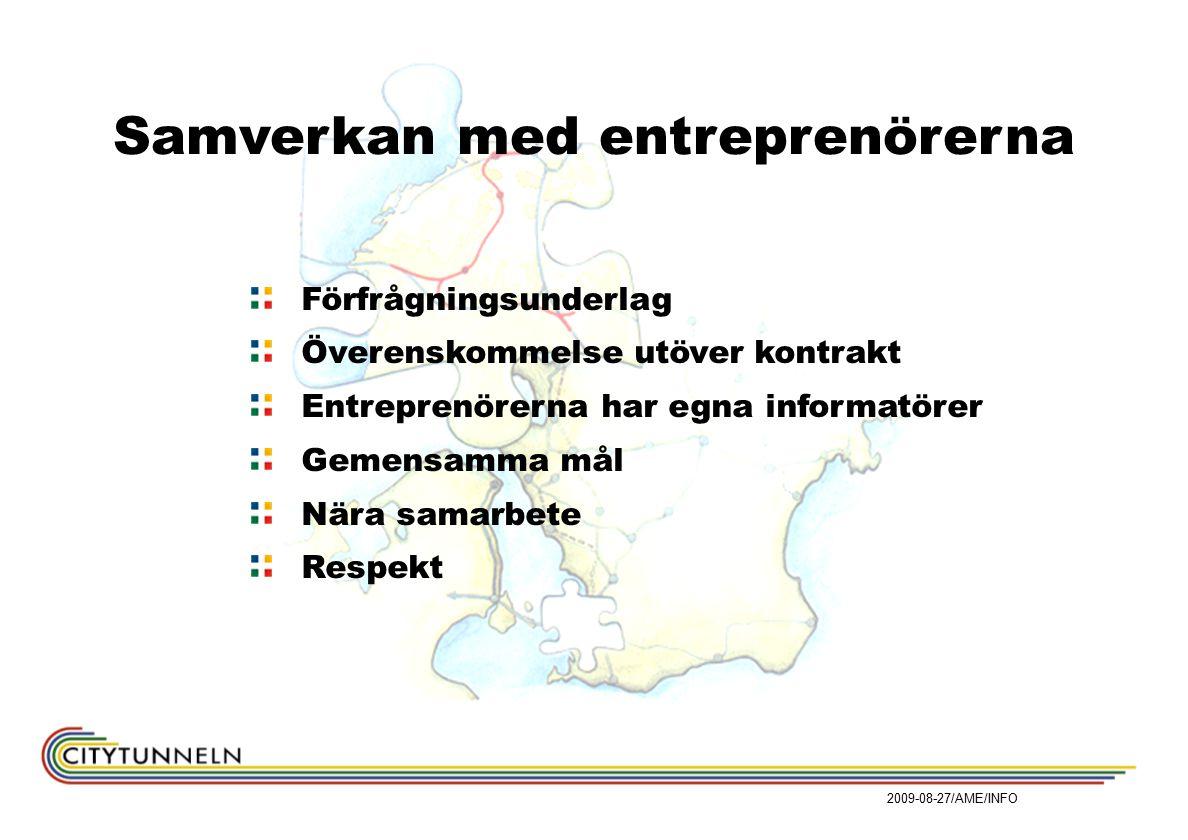Samverkan med entreprenörerna Förfrågningsunderlag Överenskommelse utöver kontrakt Entreprenörerna har egna informatörer Gemensamma mål Nära samarbete Respekt 2009-08-27/AME/INFO