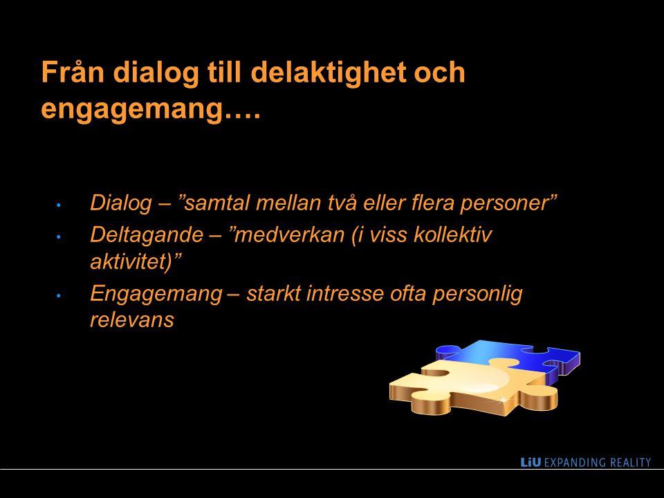 """4 Dialog – """"samtal mellan två eller flera personer"""" Deltagande – """"medverkan (i viss kollektiv aktivitet)"""" Engagemang – starkt intresse ofta personlig"""
