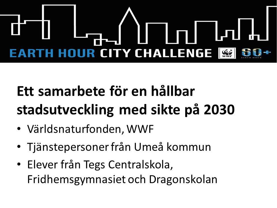 Ett samarbete för en hållbar stadsutveckling med sikte på 2030 Världsnaturfonden, WWF Tjänstepersoner från Umeå kommun Elever från Tegs Centralskola, Fridhemsgymnasiet och Dragonskolan