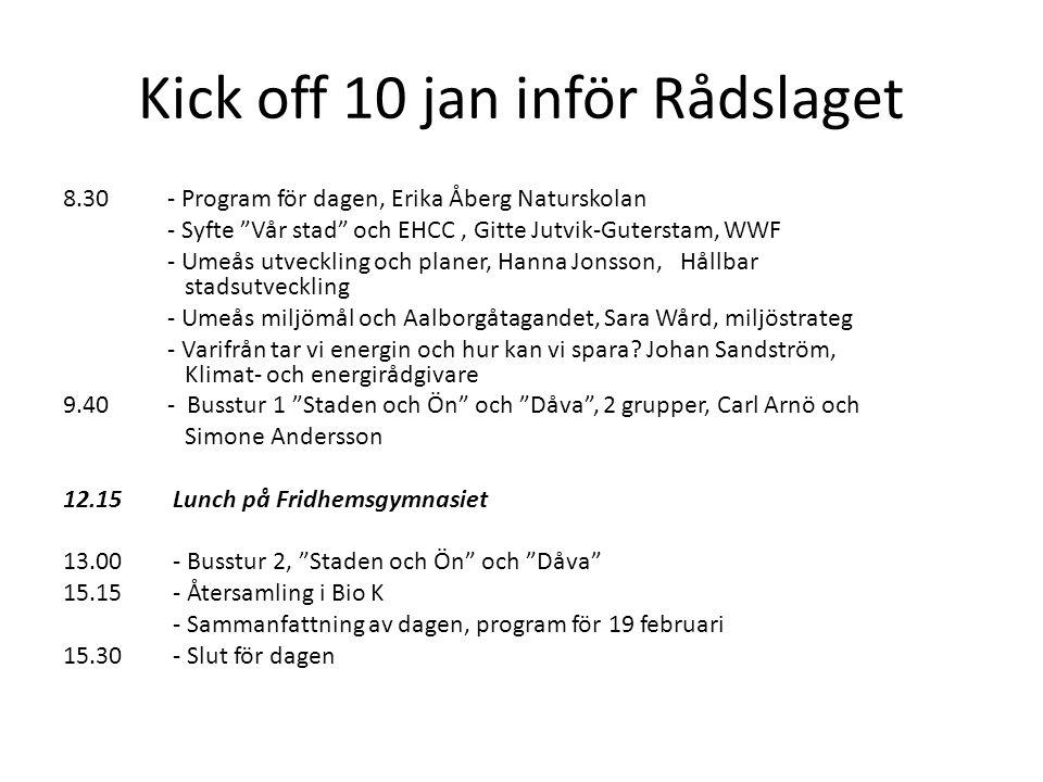 """Kick off 10 jan inför Rådslaget 8.30- Program för dagen, Erika Åberg Naturskolan - Syfte """"Vår stad"""" och EHCC, Gitte Jutvik-Guterstam, WWF - Umeås utve"""