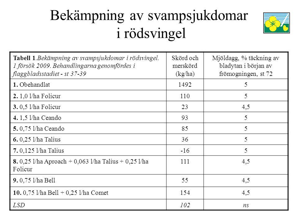 Bekämpning av svampsjukdomar i rödsvingel Tabell 2.