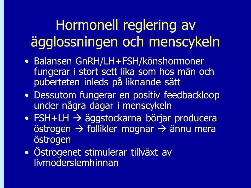 Hormonell reglering av ägglossningen och menscykeln Balansen GnRH/LH+FSH/könshormoner fungerar i stort sett lika som hos män och puberteten inleds på