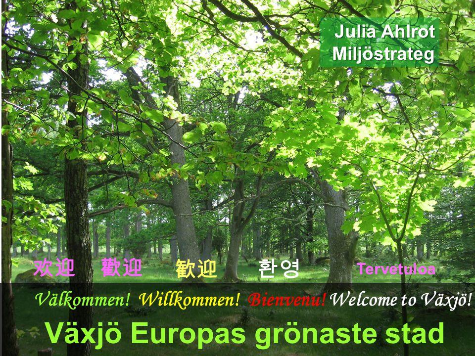 BBC började kalla Växjö för Europas grönaste stad 2007 Fossilbränslefritt Växjö Natur och sjöar Politisk enighet Internationella utmärkelser Julia Ahlrot, miljöstrateg