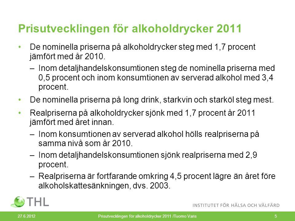 Prisutvecklingen för alkoholdrycker 2011 De nominella priserna på alkoholdrycker steg med 1,7 procent jämfört med år 2010.