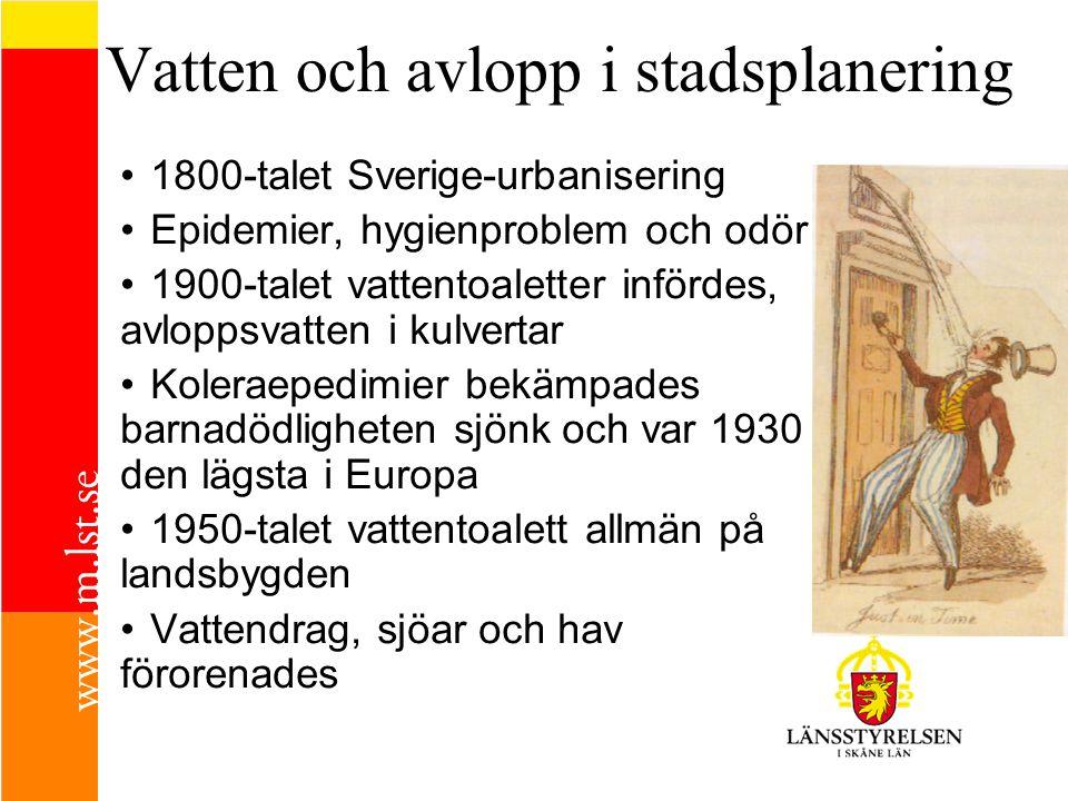 Vatten och avlopp i stadsplanering 1800-talet Sverige-urbanisering Epidemier, hygienproblem och odör 1900-talet vattentoaletter infördes, avloppsvatten i kulvertar Koleraepedimier bekämpades barnadödligheten sjönk och var 1930 den lägsta i Europa 1950-talet vattentoalett allmän på landsbygden Vattendrag, sjöar och hav förorenades