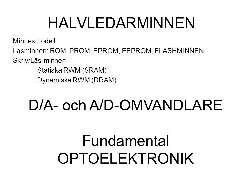 HALVLEDARMINNEN Minnesmodell Läsminnen: ROM, PROM, EPROM, EEPROM, FLASHMINNEN Skriv/Läs-minnen Statiska RWM (SRAM) Dynamiska RWM (DRAM) D/A- och A/D-O