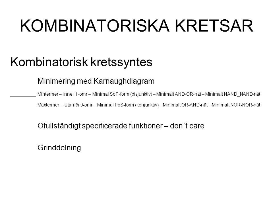 KOMBINATORISKA KRETSAR Kombinatorisk kretssyntes Minimering med Karnaughdiagram ______ Mintermer – Inne i 1-omr – Minimal SoP-form (disjunktiv) – Minimalt AND-OR-nät – Minimalt NAND_NAND-nät Maxtermer – Utanför 0-omr – Minimal PoS-form (konjunktiv) – Minimalt OR-AND-nät – Minimalt NOR-NOR-nät Ofullständigt specificerade funktioner – don´t care Grinddelning