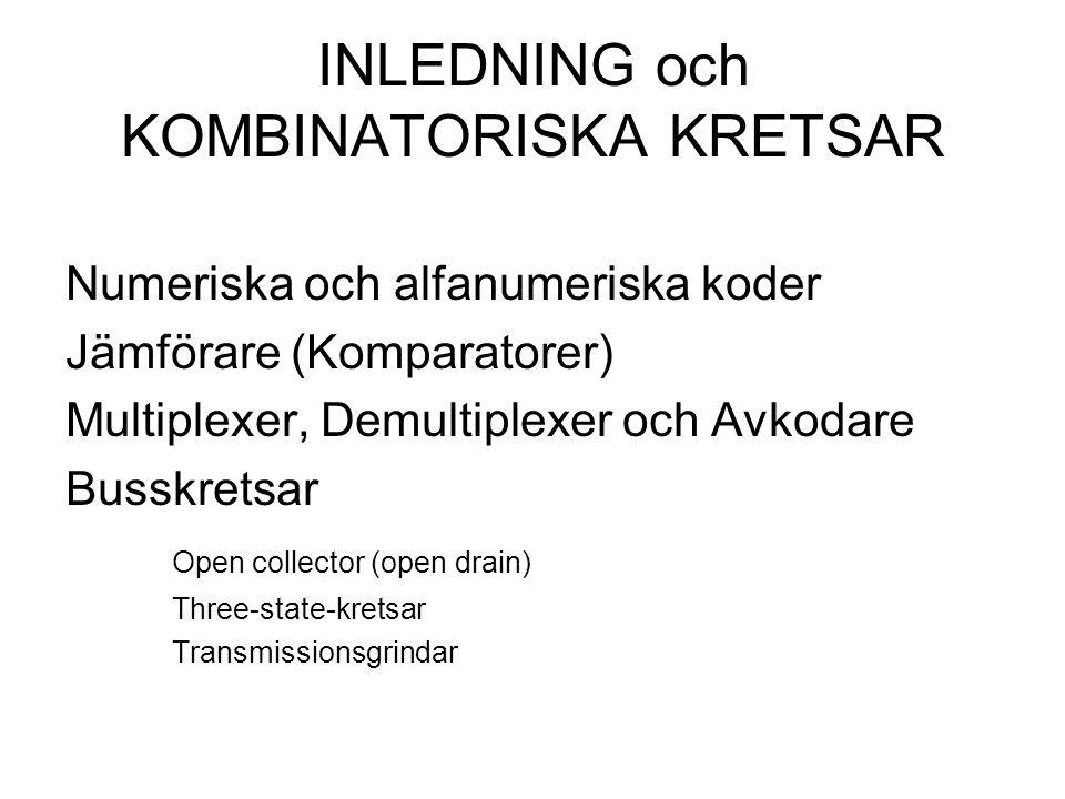 INLEDNING och KOMBINATORISKA KRETSAR Numeriska och alfanumeriska koder Jämförare (Komparatorer) Multiplexer, Demultiplexer och Avkodare Busskretsar Open collector (open drain) Three-state-kretsar Transmissionsgrindar