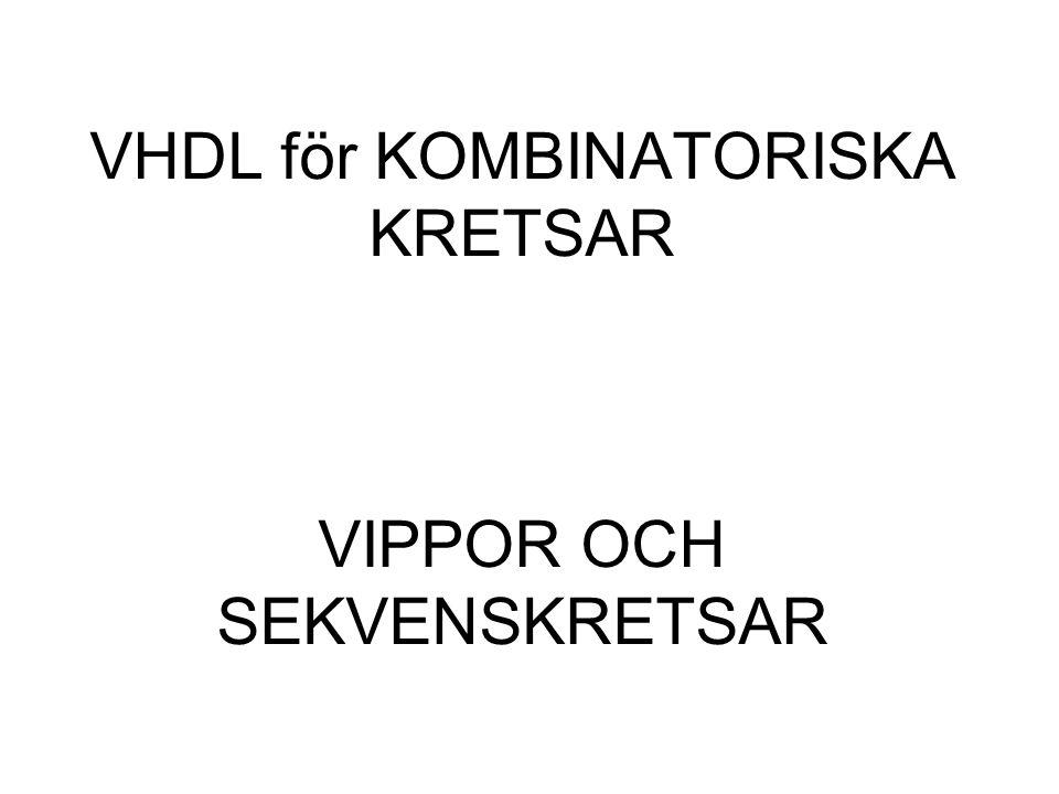 VHDL för KOMBINATORISKA KRETSAR VIPPOR OCH SEKVENSKRETSAR