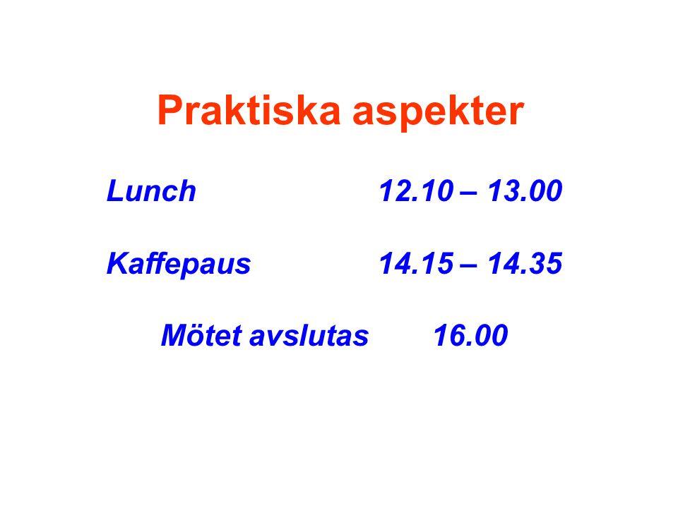 Praktiska aspekter Lunch 12.10 – 13.00 Kaffepaus 14.15 – 14.35 Mötet avslutas 16.00