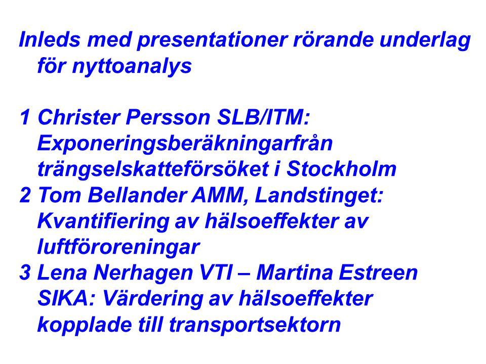 Inleds med presentationer rörande underlag för nyttoanalys 1Christer Persson SLB/ITM: Exponeringsberäkningarfrån trängselskatteförsöket i Stockholm 2Tom Bellander AMM, Landstinget: Kvantifiering av hälsoeffekter av luftföroreningar 3Lena Nerhagen VTI – Martina Estreen SIKA: Värdering av hälsoeffekter kopplade till transportsektorn
