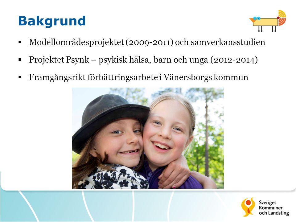 Bakgrund  Modellområdesprojektet (2009-2011) och samverkansstudien  Projektet Psynk – psykisk hälsa, barn och unga (2012-2014)  Framgångsrikt förbättringsarbete i Vänersborgs kommun