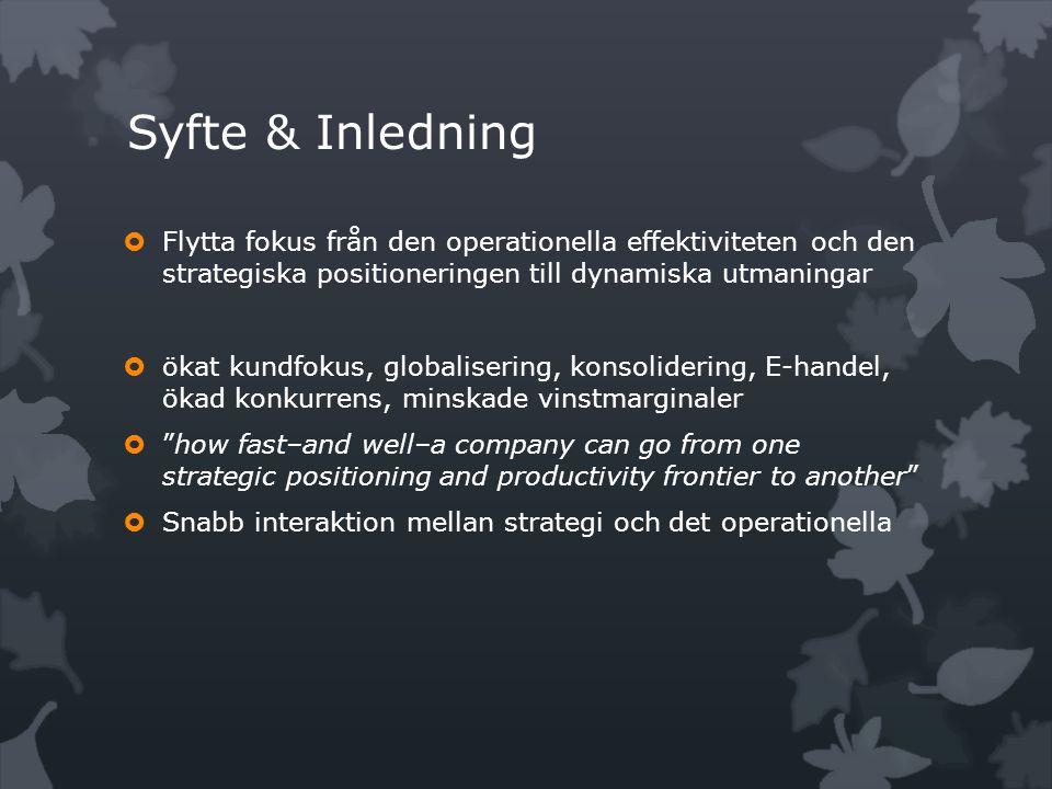 Syfte & Inledning  Flytta fokus från den operationella effektiviteten och den strategiska positioneringen till dynamiska utmaningar  ökat kundfokus,