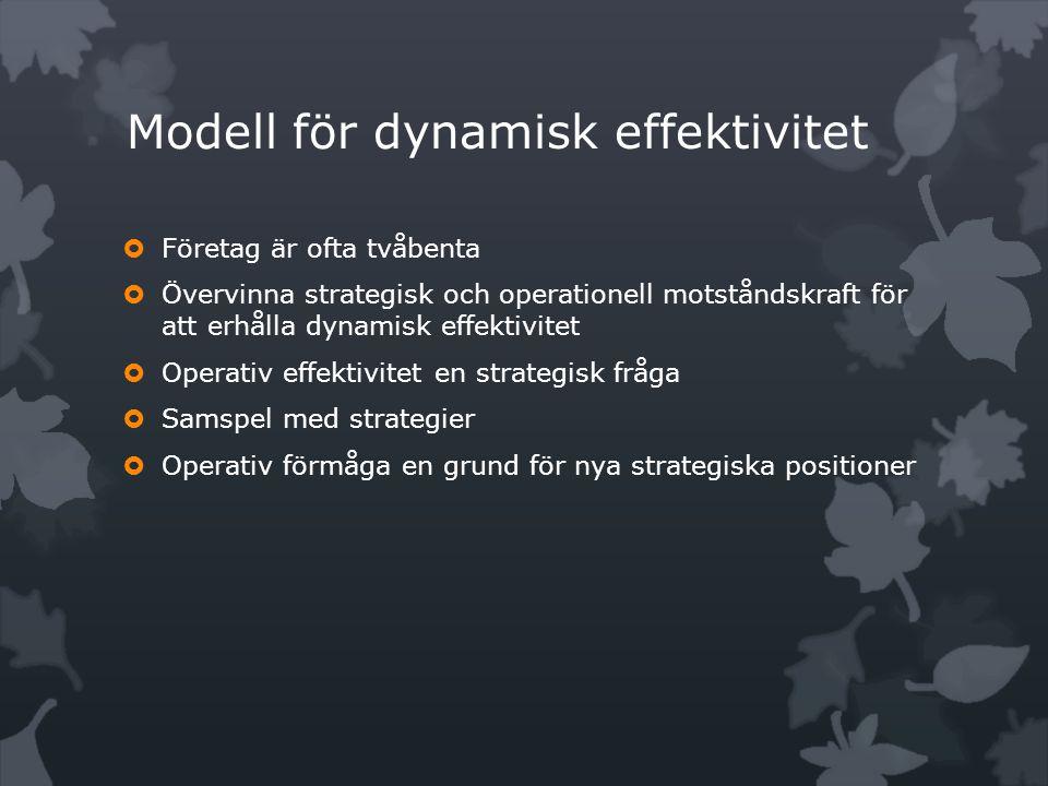  Företag är ofta tvåbenta  Övervinna strategisk och operationell motståndskraft för att erhålla dynamisk effektivitet  Operativ effektivitet en strategisk fråga  Samspel med strategier  Operativ förmåga en grund för nya strategiska positioner