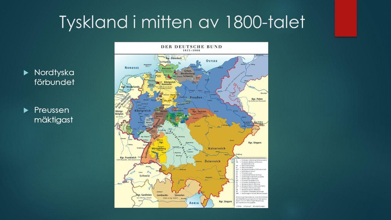 Försök att ena Tyskland 1  1848 revolutioner i Europa  Marsrevolutionen i Berlin 1848  Liberaler, arbetare, svaga sammanslut- ningar  Nationalism + liberalism  Höll inte så länge…