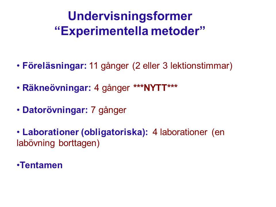 Undervisningsformer Experimentella metoder Föreläsningar: 11 gånger (2 eller 3 lektionstimmar) Räkneövningar: 4 gånger ***NYTT*** Datorövningar: 7 gånger Laborationer (obligatoriska): 4 laborationer (en labövning borttagen) Tentamen