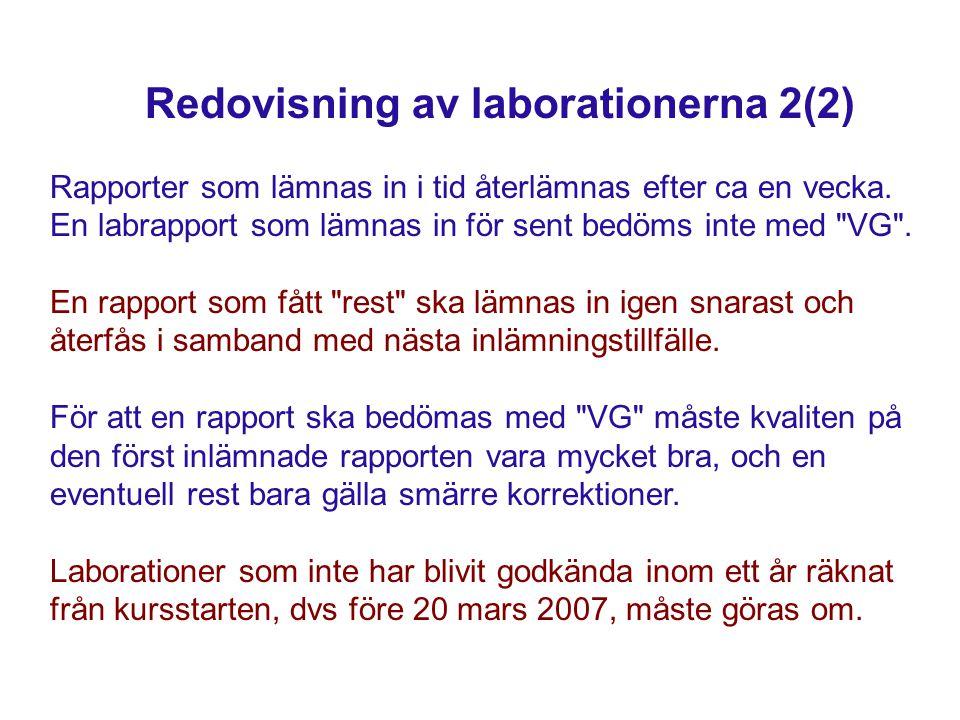 Redovisning av laborationerna 2(2) Rapporter som lämnas in i tid återlämnas efter ca en vecka. En labrapport som lämnas in för sent bedöms inte med