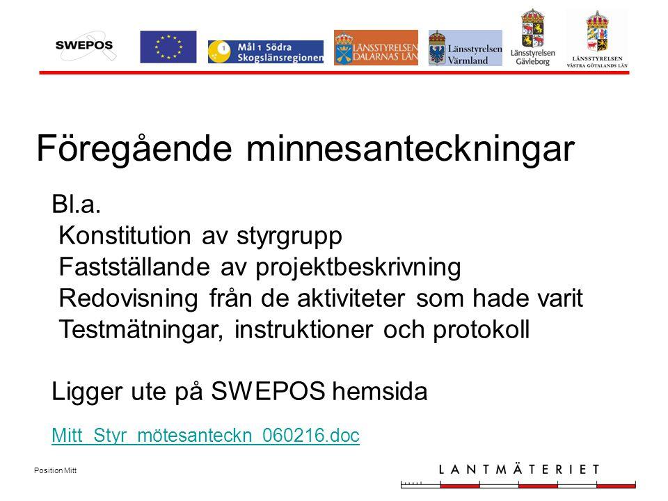 Position Mitt Föregående minnesanteckningar Bl.a.