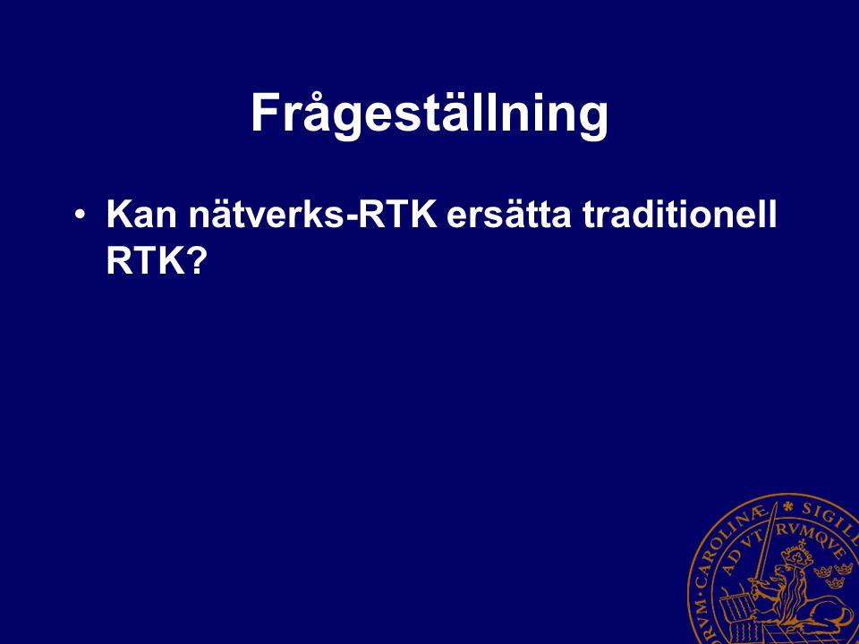 Frågeställning Kan nätverks-RTK ersätta traditionell RTK?
