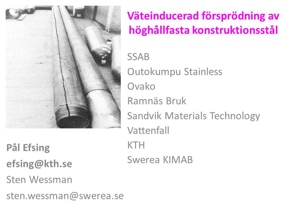 Väteinducerad försprödning av höghållfasta konstruktionsstål Plats för stor bild SSAB Outokumpu Stainless Ovako Ramnäs Bruk Sandvik Materials Technolo