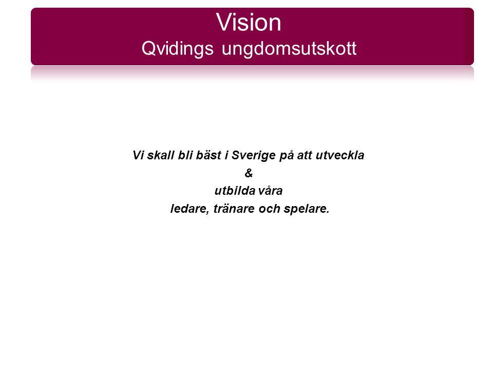 Vi skall bli bäst i Sverige på att utveckla & utbilda våra ledare, tränare och spelare. Vision Qvidings ungdomsutskott