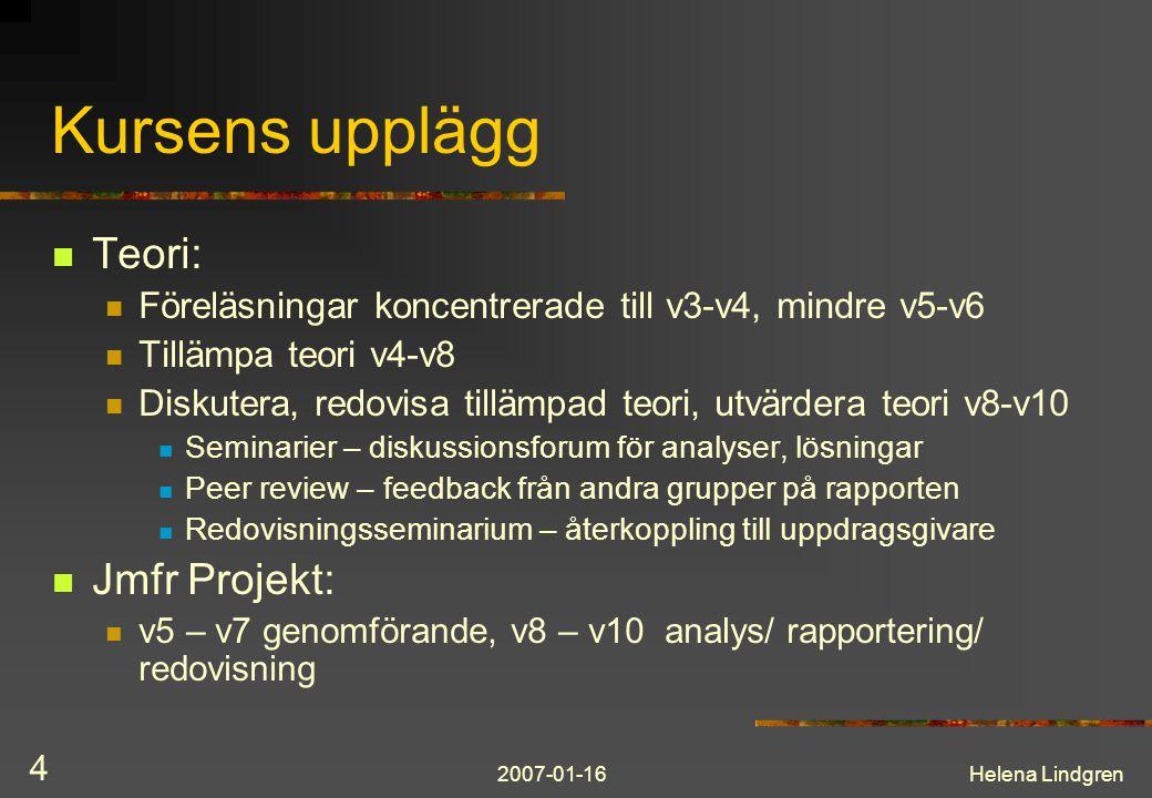 2007-01-16Helena Lindgren 4 Kursens upplägg Teori: Föreläsningar koncentrerade till v3-v4, mindre v5-v6 Tillämpa teori v4-v8 Diskutera, redovisa tillä