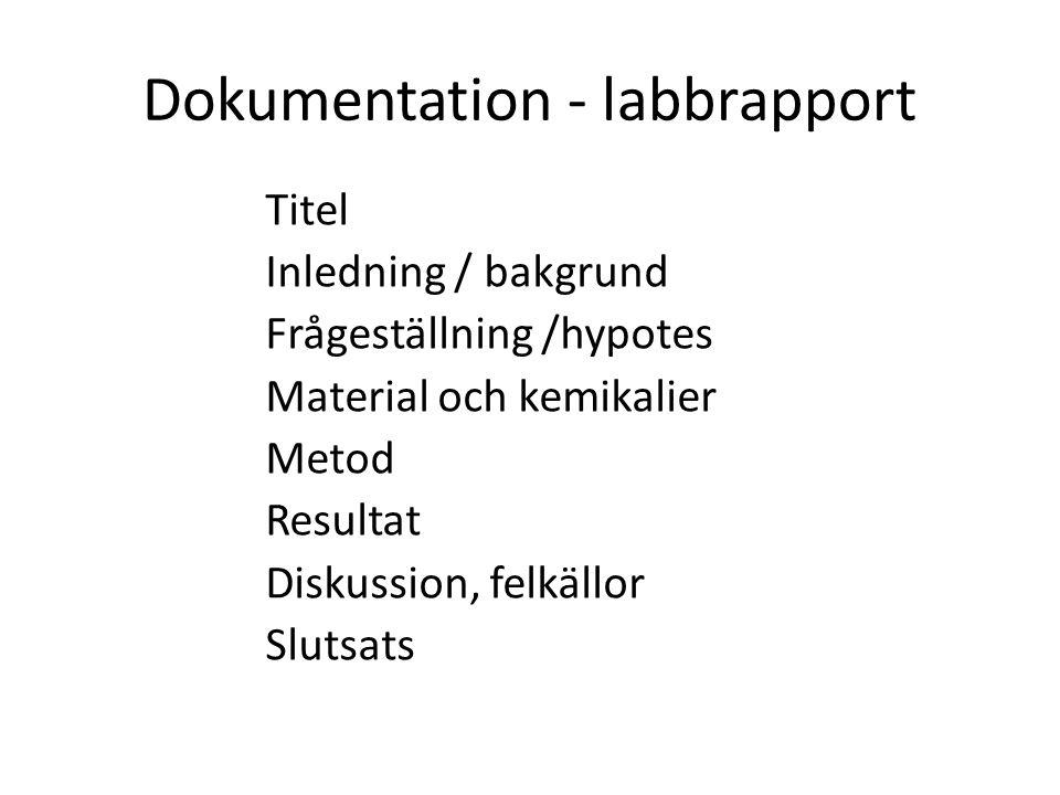 Dokumentation - labbrapport Titel Inledning / bakgrund Frågeställning /hypotes Material och kemikalier Metod Resultat Diskussion, felkällor Slutsats