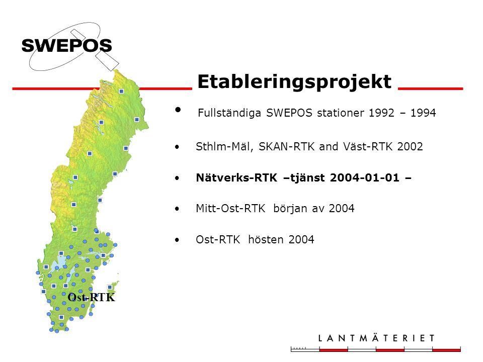 Fullständiga SWEPOS stationer 1992 – 1994 Sthlm-Mäl, SKAN-RTK and Väst-RTK 2002 Nätverks-RTK –tjänst 2004-01-01 – Mitt-Ost-RTK början av 2004 Ost-RTK hösten 2004 Etableringsprojekt Ost-RTK