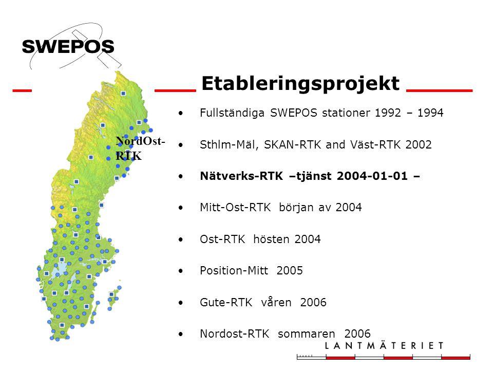 Fullständiga SWEPOS stationer 1992 – 1994 Sthlm-Mäl, SKAN-RTK and Väst-RTK 2002 Nätverks-RTK –tjänst 2004-01-01 – Mitt-Ost-RTK början av 2004 Ost-RTK hösten 2004 Position-Mitt 2005 Gute-RTK våren 2006 Nordost-RTK sommaren 2006 Etableringsprojekt NordOst- RTK