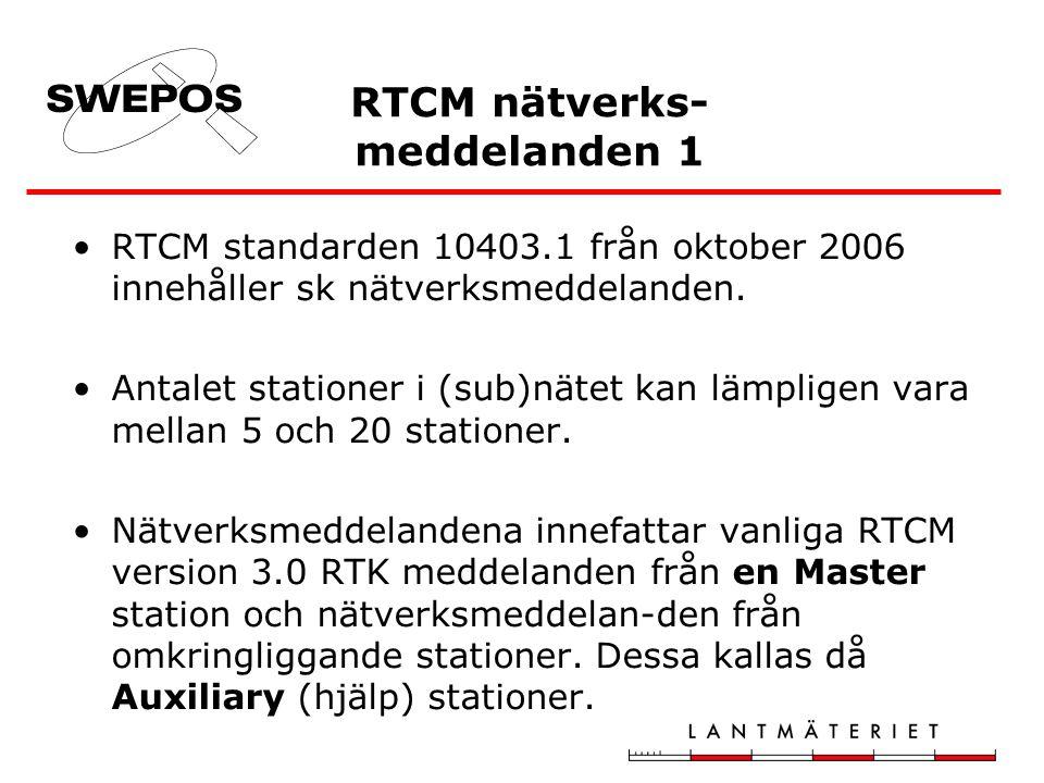 RTCM nätverks- meddelanden 1 RTCM standarden 10403.1 från oktober 2006 innehåller sk nätverksmeddelanden. Antalet stationer i (sub)nätet kan lämpligen
