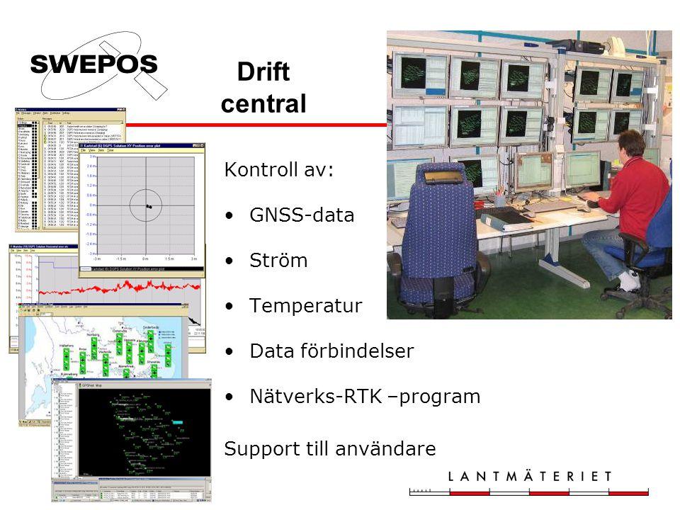 Drift central Kontroll av: GNSS-data Ström Temperatur Data förbindelser Nätverks-RTK –program Support till användare