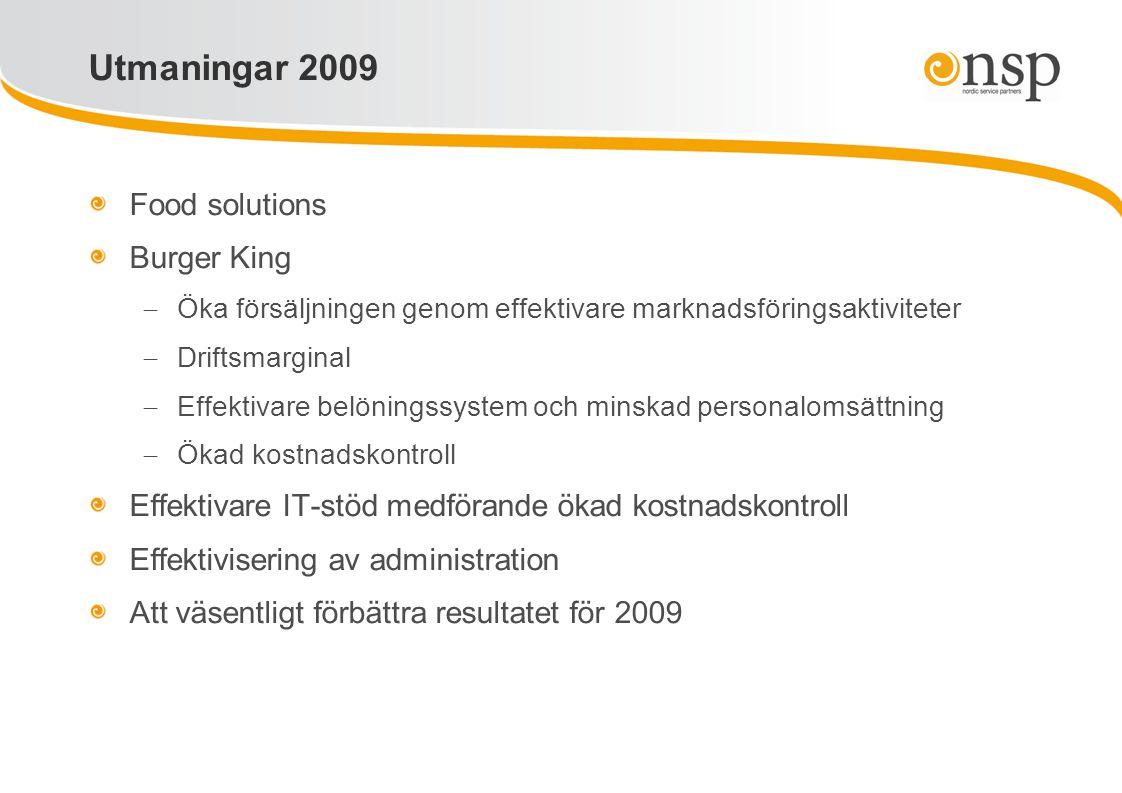 Food solutions Burger King  Öka försäljningen genom effektivare marknadsföringsaktiviteter  Driftsmarginal  Effektivare belöningssystem och minskad