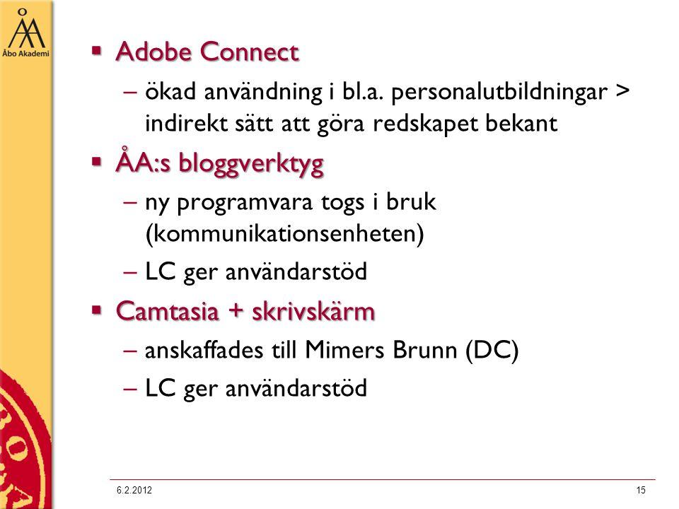  Adobe Connect –ökad användning i bl.a. personalutbildningar > indirekt sätt att göra redskapet bekant  ÅA:s bloggverktyg –ny programvara togs i bru