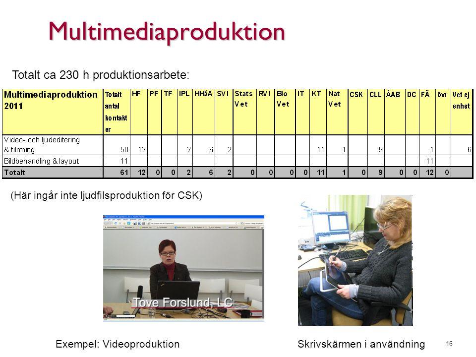 Multimediaproduktion 16 Totalt ca 230 h produktionsarbete: (Här ingår inte ljudfilsproduktion för CSK) Exempel: Videoproduktion Skrivskärmen i användn