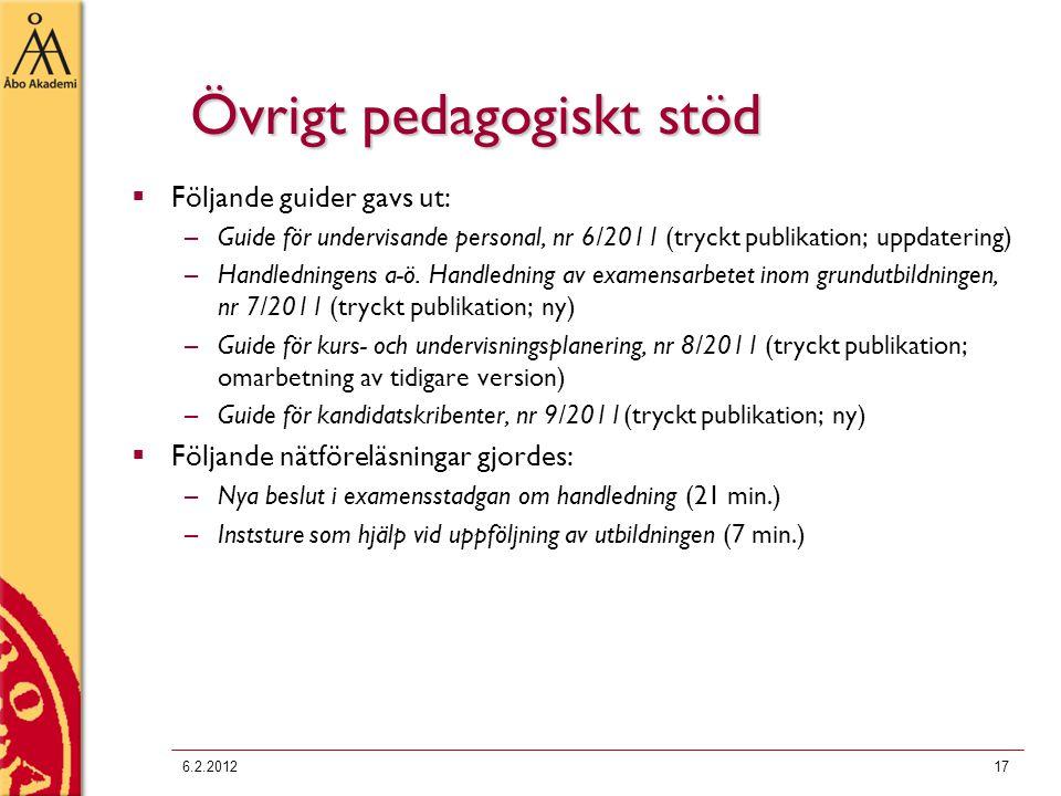 Övrigt pedagogiskt stöd  Följande guider gavs ut: –Guide för undervisande personal, nr 6/2011 (tryckt publikation; uppdatering) –Handledningens a-ö.