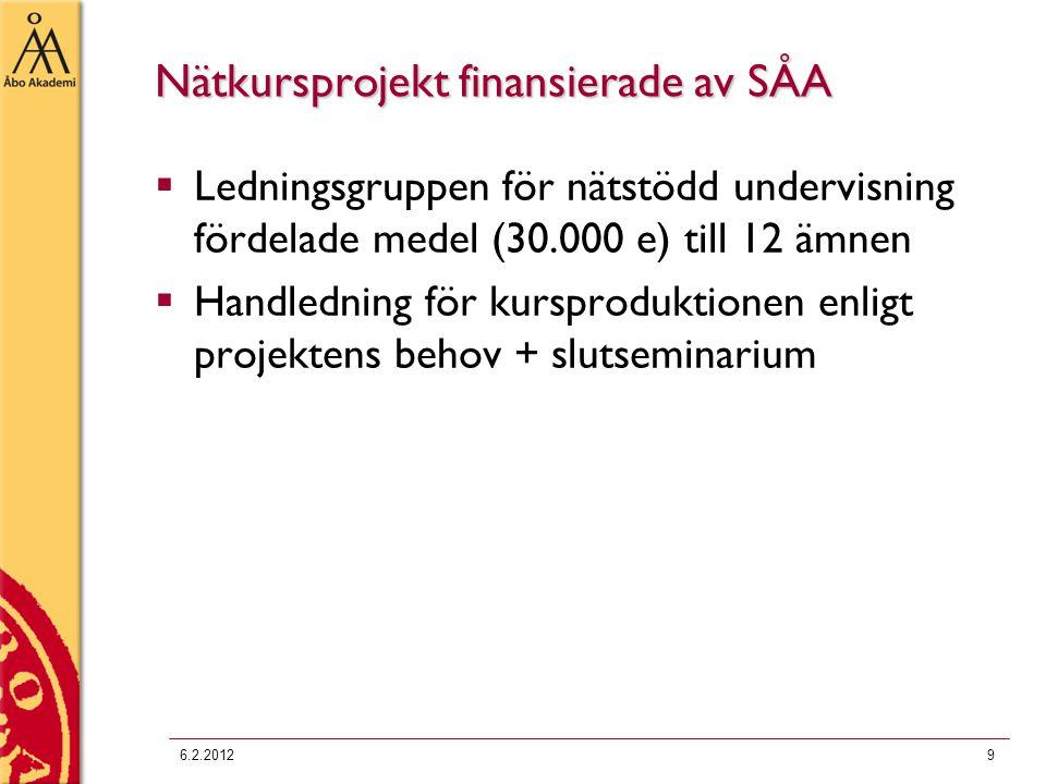 Nätkursprojekt finansierade av SÅA  Ledningsgruppen för nätstödd undervisning fördelade medel (30.000 e) till 12 ämnen  Handledning för kursproduktionen enligt projektens behov + slutseminarium 6.2.20129