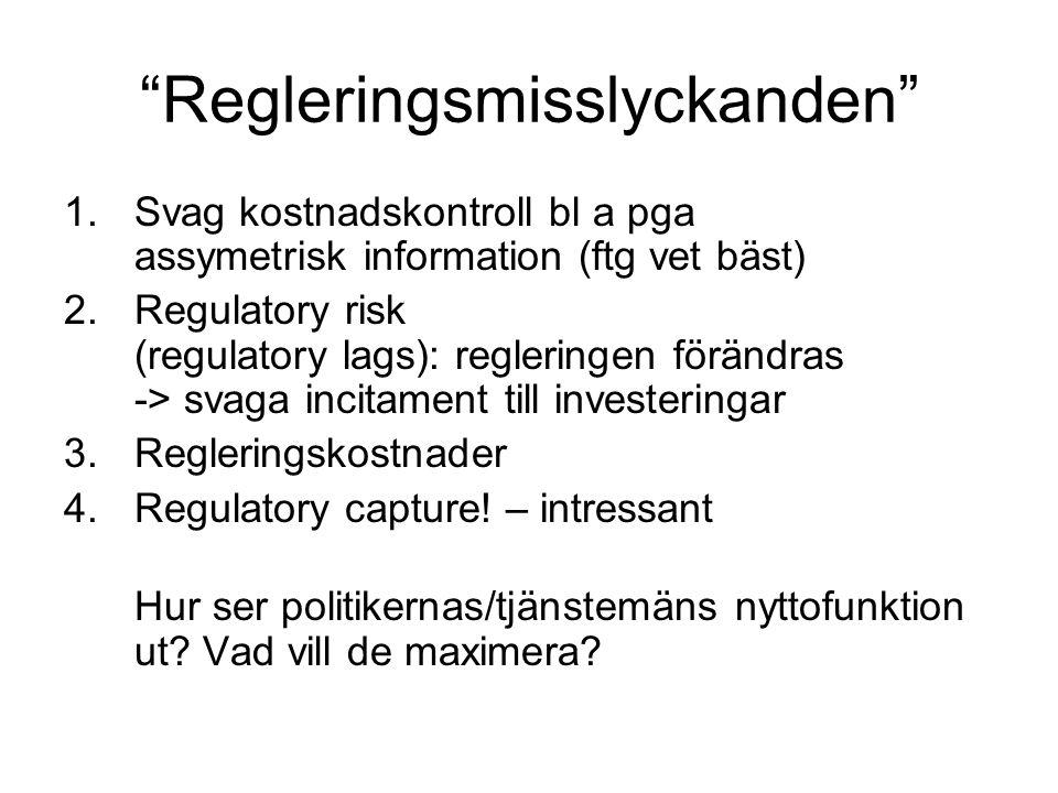 Regleringsmisslyckanden 1.Svag kostnadskontroll bl a pga assymetrisk information (ftg vet bäst) 2.Regulatory risk (regulatory lags): regleringen förändras -> svaga incitament till investeringar 3.Regleringskostnader 4.Regulatory capture.