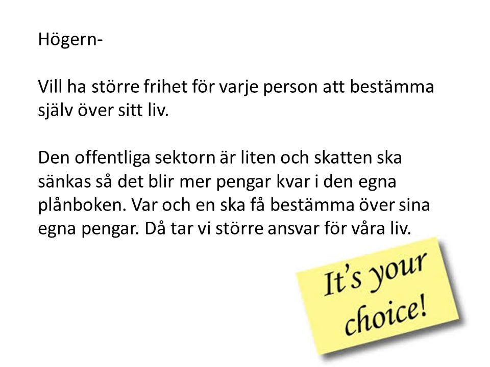 Högern- Vill ha större frihet för varje person att bestämma själv över sitt liv. Den offentliga sektorn är liten och skatten ska sänkas så det blir me