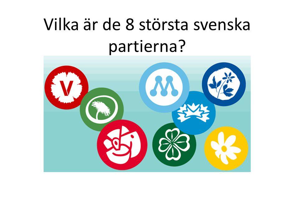 Vilka är de 8 största svenska partierna?