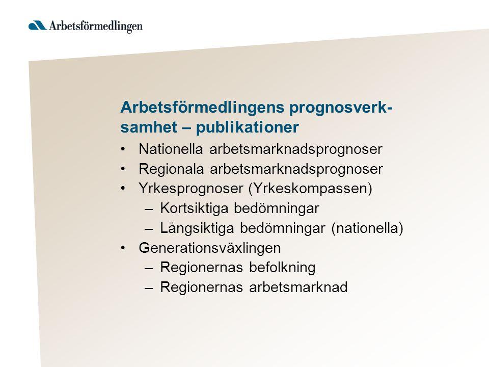 Arbetsförmedlingens prognosverk- samhet – publikationer Nationella arbetsmarknadsprognoser Regionala arbetsmarknadsprognoser Yrkesprognoser (Yrkeskomp