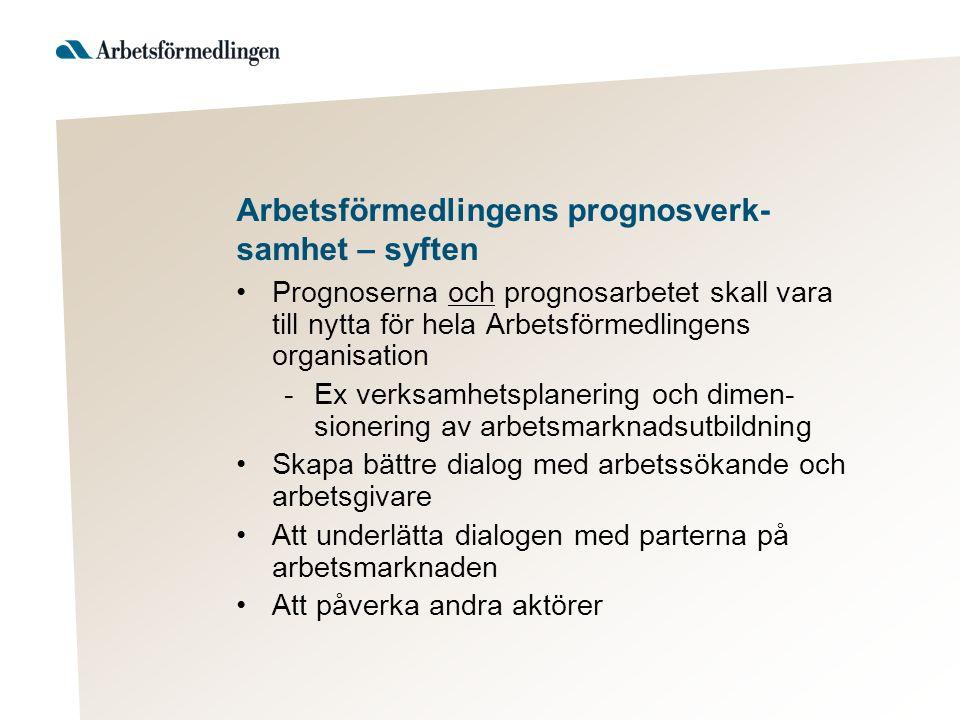 Arbetsförmedlingens prognosverk- samhet – syften Prognoserna och prognosarbetet skall vara till nytta för hela Arbetsförmedlingens organisation -Ex ve