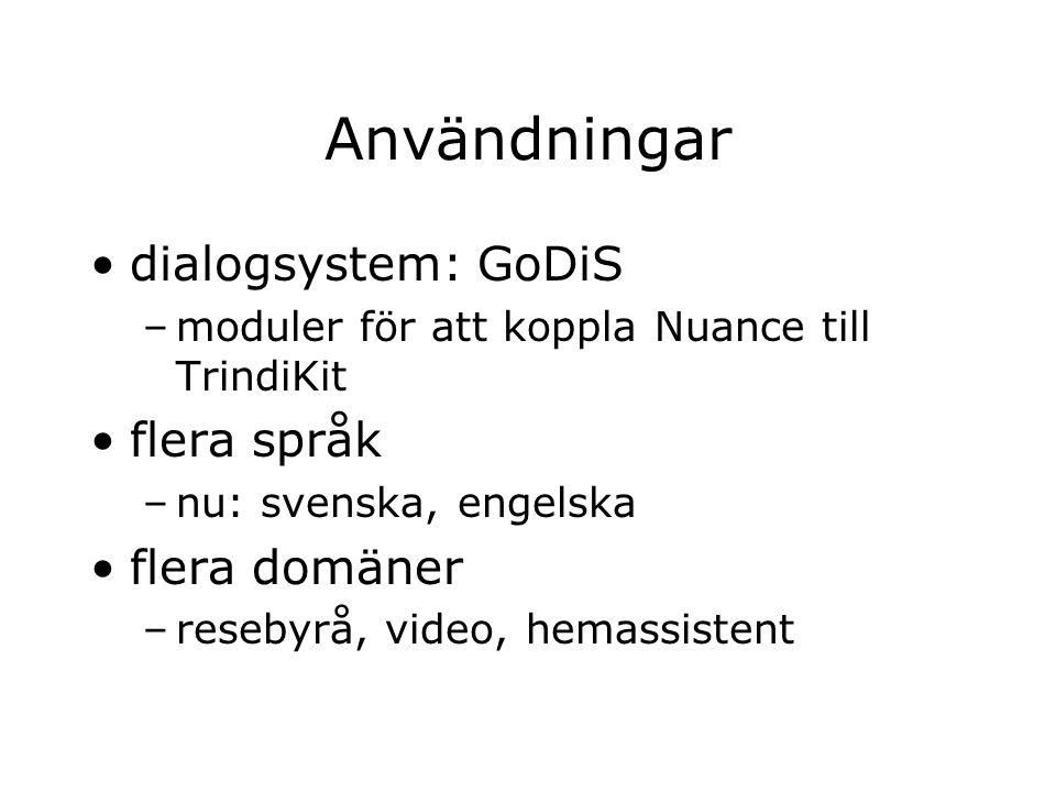 Användningar dialogsystem: GoDiS –moduler för att koppla Nuance till TrindiKit flera språk –nu: svenska, engelska flera domäner –resebyrå, video, hema
