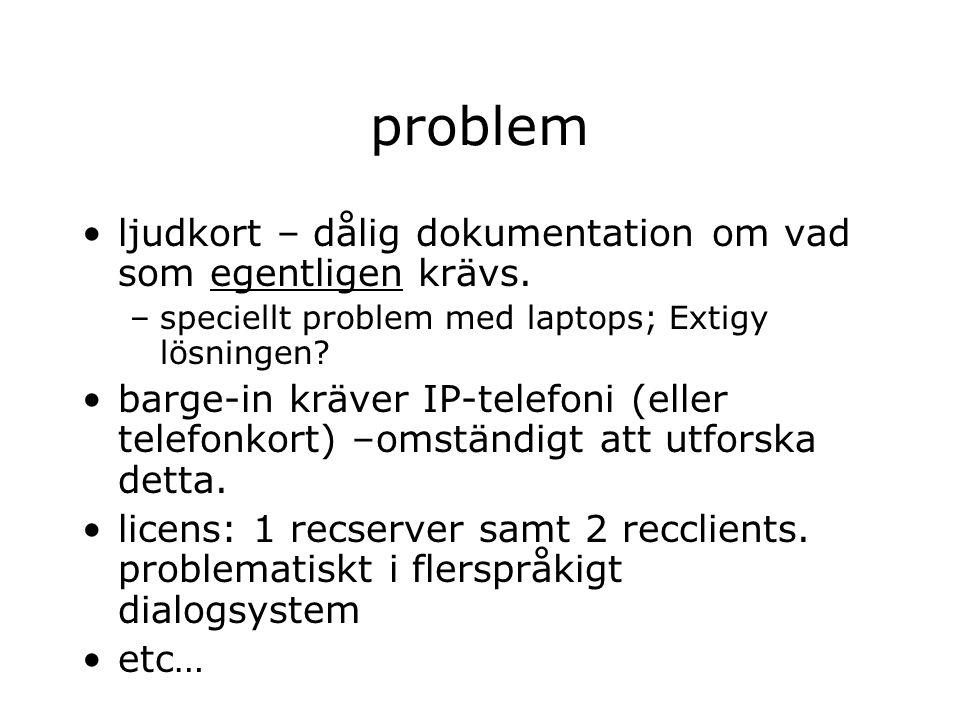 problem ljudkort – dålig dokumentation om vad som egentligen krävs. –speciellt problem med laptops; Extigy lösningen? barge-in kräver IP-telefoni (ell