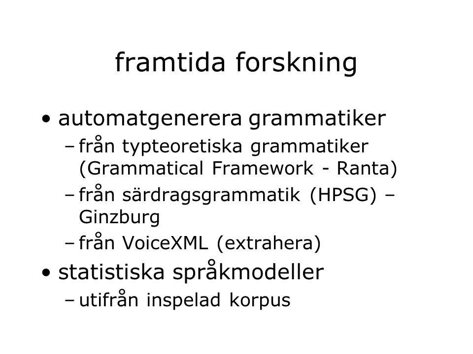 framtida forskning automatgenerera grammatiker –från typteoretiska grammatiker (Grammatical Framework - Ranta) –från särdragsgrammatik (HPSG) – Ginzbu