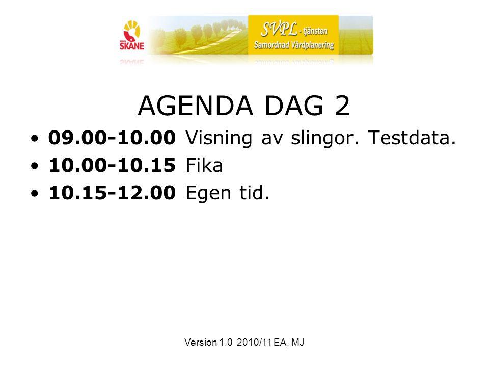 Version 1.0 2010/11 EA, MJ AGENDA DAG 2 09.00-10.00 Visning av slingor.